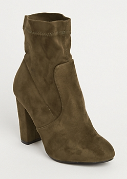 Olive Faux Suede Heeled Bootie By Yoki