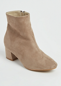 Taupe Faux Suede Ankle Bootie