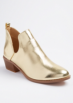 Gold Metallic Deep Cut Booties