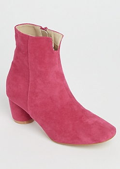 Fuchsia Faux Suede Booties