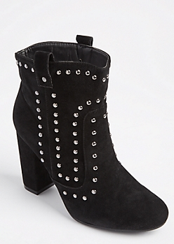 Black Studded Cowboy Bootie