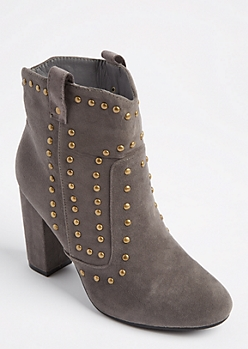Gray Studded Cowboy Bootie