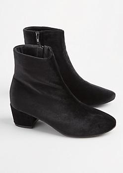 Black Velvet Heeled Bootie