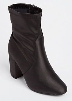 Black Sateen Heeled Bootie