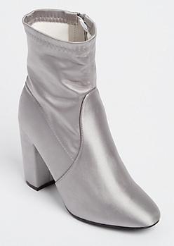 Silver Sateen Heeled Booties