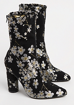 Floral Embroidered Bootie By Yoki