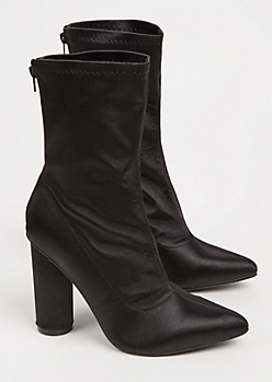 Black Satin Heeled Bootie By Yoki