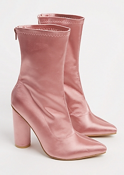 Pink Satin Heeled Bootie By Yoki