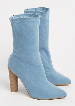 Denim Stacked Bootie By Yoki