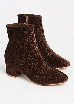 Brown Embossed Velvet Bootie By Yoki