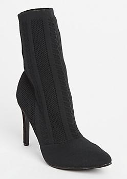 Black Patterned Knit Sock Booties
