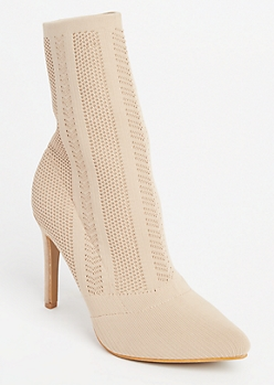 Taupe Patterned Knit Sock Booties