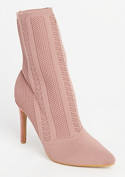 Pink Patterned Knit Sock Booties