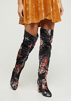 Wildflower Velvet Over The Knee Boot By Yoki