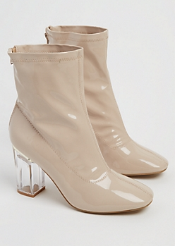 Nude Patent Leather Clear Heel Bootie By Yoki