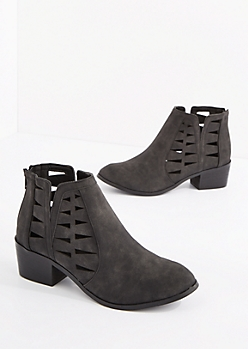 Black Cutout Vegan Leather Bootie