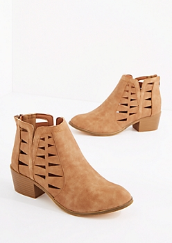 Tan Cutout Vegan Leather Bootie