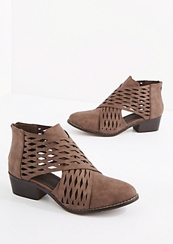 Brown Wrapped Cutout Bootie