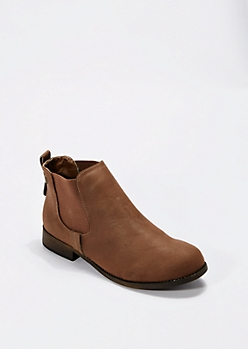 Brown Faux Leather Bootie