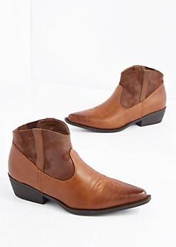 Brown Stitched Western Bootie