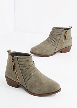 Gray Strappy Heeled Bootie