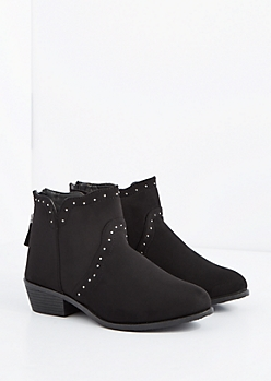Black Studded Western Bootie