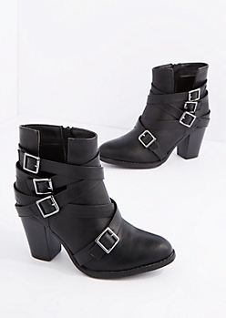 Black Vegan Leather Buckle Strapped Heeled Bootie