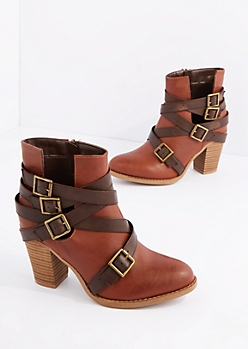 Cognac Vegan Leather Buckle Strapped Heeled Bootie