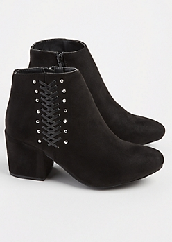 Black Faux Suede Lace & Studded Bootie