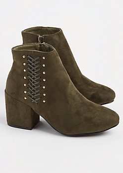 Olive Faux Suede Lace & Studded Bootie