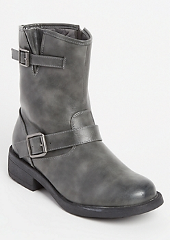 Black Buckled Ankle Boots