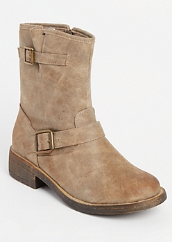 Taupe Buckled Ankle Boots