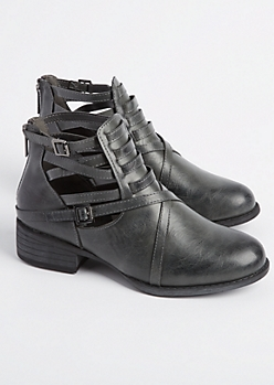 Gray Strappy Buckled Bootie