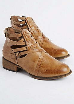 Taupe Strappy Buckled Bootie
