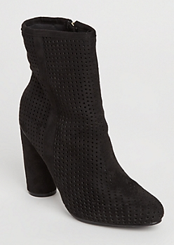 Black Perforated Suede Bootie By Hot Kiss