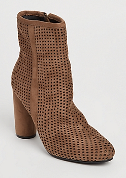 Taupe Perforated Suede Bootie By Hot Kiss