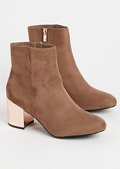 Taupe Mirror Heel Bootie By Hot Kiss