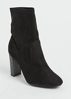 Black Glitter Heel Bootie