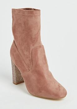 Pink Glitter Heel Bootie