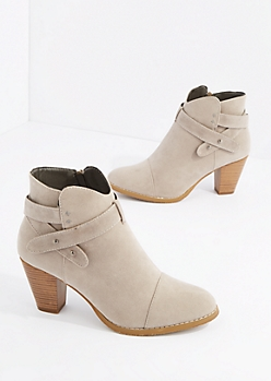 Gray Criss Cross Strap Heel Bootie By Hot Kiss