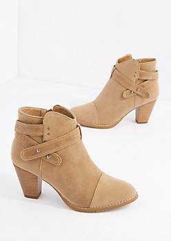 Taupe Criss Cross Strap Heel Bootie By Hot Kiss