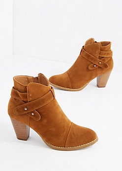 Tan Criss Cross Strap Heel Bootie By Hot Kiss