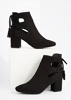 Black Side Cut Out Block Heel Bootie By Hot Kiss