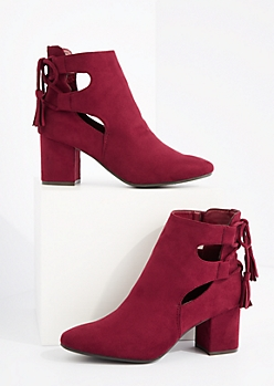 Burgundy Side Cut Out Block Heel Bootie By Hot Kiss