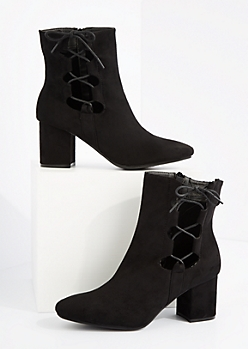 Black Side Tie Block Heel Bootie By Hot Kiss
