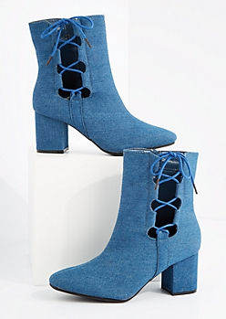 Denim Side Tie Block Heel Bootie By Hot Kiss