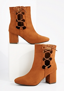 Tan Side Tie Block Heel Bootie By Hot Kiss