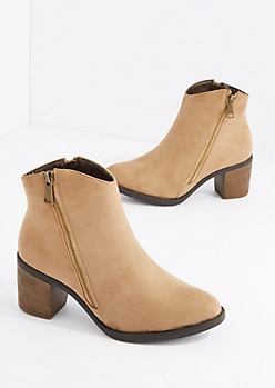Taupe Double Zipper Heel Bootie By Hot Kiss