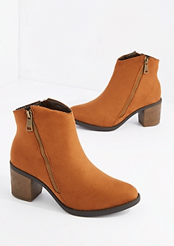 Camel Double Zipper Heel Bootie By Hot Kiss