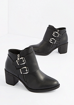 Black Double Buckle Strap Heel Bootie By Hot Kiss